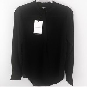NWT WHO WHAT WEAR Sheer Blouse Black